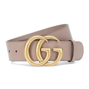 Auth. Gucci Leather Belt with GG Buckle Rose Pink